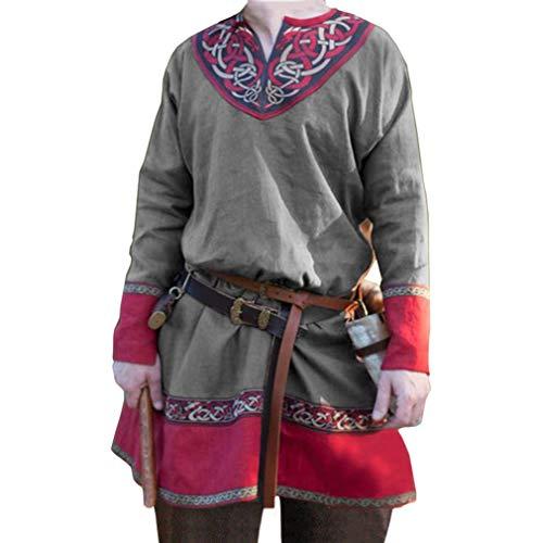 Herren Mittelalter Hemd Retro Renaissance Shirt Lange Ärmel V-Ausschnitt Oberteile Victoria Pirat Hemden Cosplay Bühnenperformance Kostüm (Ohne Gürtel)