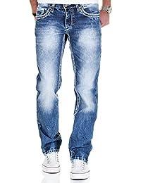 MERISH 5-Pocket Denim Jeans Herren Straight Fit Kontrastnaht Modell J9575