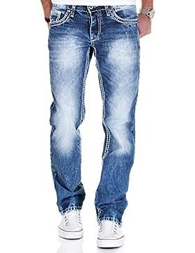 Merish Jeans Herren Straight Fit Kontrastnaht Dicke Naht Neon Denim J9575