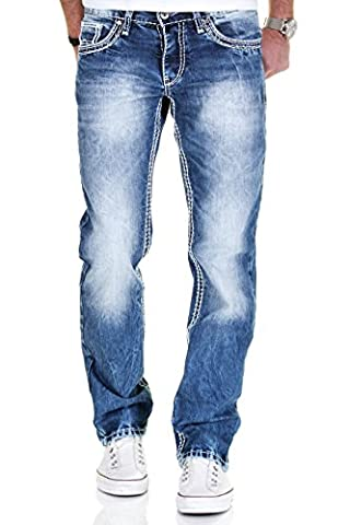 Merish Jeans Herren Straight Fit Kontrastnaht Dicke Naht Neon Neu Denim J9575 Blau-Weiß 33-32