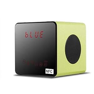 OXA Naturholz-Design Tragbare Wireless Stereo Lautsprecher NFC Bluetooth Lautsprecher mit austauschbaren Lithium-Polymer-Akku, Unterstützung für Micro-SD-Karten, integriertes FM-Radio und AUX Line-in-Anschluss für Laptops, Smart Phones, Tablets PC und mehr (Apfelgrün)