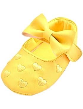 0~ 18meses bebé niña Bowknot Corazón bordado Zapatos Princesa zapatos de piel sintética