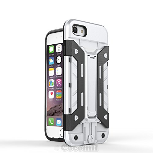 iPhone 8 / iPhone 7 Hülle, Cocomii Transformer Armor NEW [Heavy Duty] Premium Built-in Multi Card Holder Kickstand Shockproof Hard Bumper Shell [Military Defender] Full Body Dual Layer Rugged Cover Ca Silver