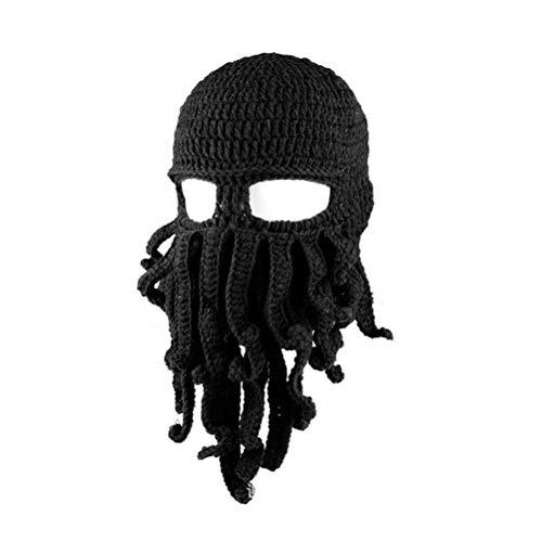 Amosfun Neuheit handgemachte lustige Octopus Hut Halloween Kostüme Tintenfisch Gestrickte Kopf Maske Mützen häkeln Cap Unisex Geschenk für Bühnenshow (schwarz) (Tintenfisch Hut Kostüm)