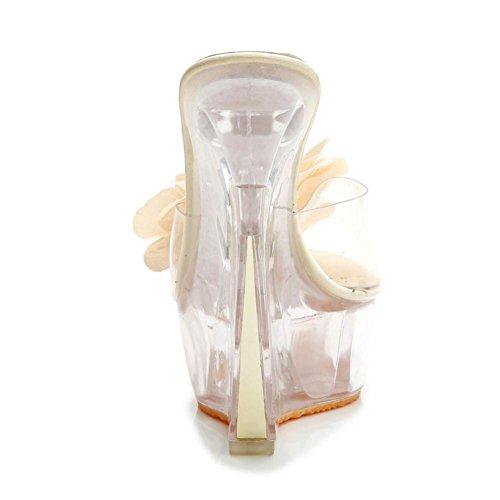 Lemon&T Vintage Style Summer Abricot Bleu Rose des femmes Transparent Peep-toe Slip cristal en caoutchouc résistant Sole Fleur Talons Compensées Sandales apricot