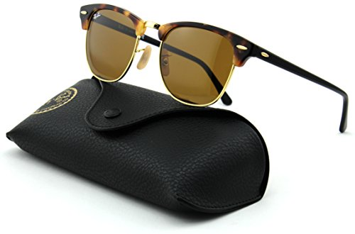 Ray-Ban RB3016 Clubmaster Unisex Sunglasses (Spotted Brown Havana Frame/Brown Lens 1160, 51)