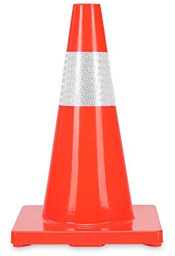 Leitkegel aus Kunststoff - Warnkegel 45 cm hoch - Reflektierende Pylone - Verkehrshütchen Stapelbar - Orange ()