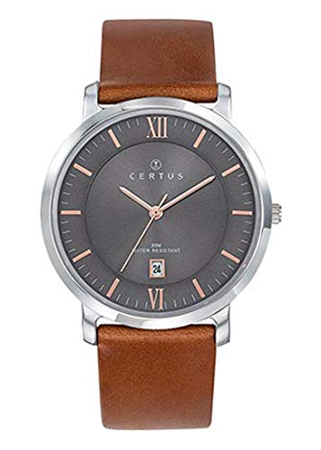 Certus–Reloj Hombre–h611m074–Piel marrón–Esfera Gris–Fechador