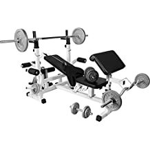 GORILLA SPORTS Hantelbank Universal mit Hantel-Set Guss 108 kg - Langhantel, Curlstange, Kurzhanteln, Gewichtsscheiben und Sternverschlüssen