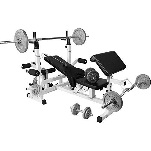 GORILLA SPORTS Hantelbank Universal mit Hantel-Set Guss 108 kg - Langhantel, Curlstange, Kurzhanteln, Gewichtsscheiben und Sternverschlüssen - Fitnessgerät Mit Gewichten