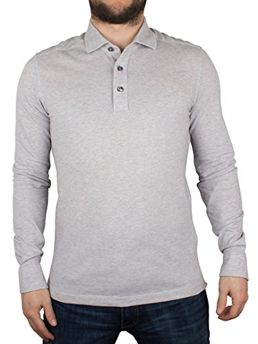 Gant Uomo Camicia Oxford maniche lunghe Pique Rugger Logo Polo, Grigio, Medium