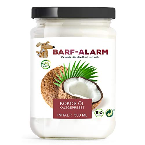 barf-alarm 100% Bio Kokosöl für Hunde 500ml - Kokosnussöl Kokosfett Hund - Bio Qualität- Kaltgepresst nativ - Kokos Öl flüssig - Welpen, Adulte, Senioren & Sporthunde -