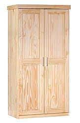 Inter Link Kleiderschrank Landhauschrank Schlafzimmerschrank Drehtürenschrank Kiefer Massivholz Natur lackiert