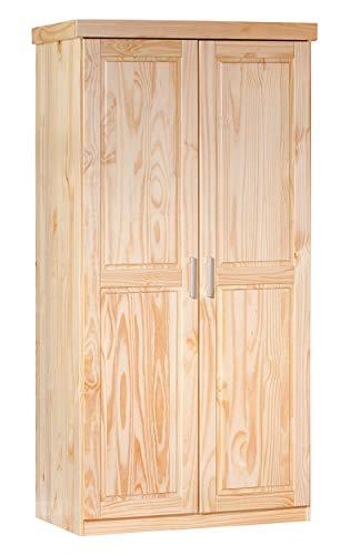 Inter link armadio rustico con ante battenti in legno massello verniciato, naturale