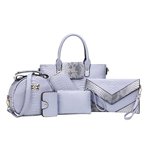 Kairuun Damen Kunstleder Handtasche Tasche mit Alligator Muster 6 teiliges Set mit Crossbody Tasche und Handtasche Kartentasche -