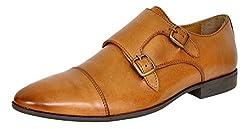 ALLEN COOPER Mens Tan Leather Monk Strap Shoes - 10 UK
