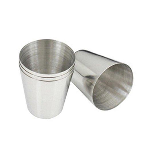 Wertys, Mini-Trinkbecher, Edelstahl, 3,7 x 2,5 x 4,3 cm, ideal für Reisen / Camping, für Tee / Bier / Kaffee, 4 Stück -