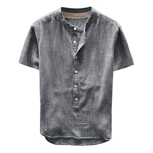 8614c4a19 POachers Chemise Homme Manches Courtes-Mode Hommes Été T-Shirt Bouton  Décontractée Lin et