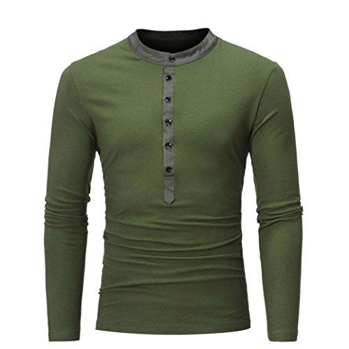 YunYoud Modern Herren Hemd Reizvoller Slim Fit Sweatshirt Lange Ärmel Bluse Einfarbig Tops Super bequem Pullover Top Sport Shirt Mit Knopf (XXL, Armeegrün)