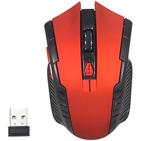 Longra 2.4Ghz Mini portátiles inalámbricos Ratones óptico del juego para PC (rojo)