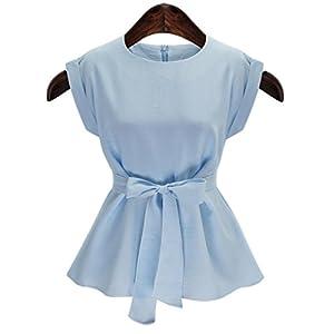 Unbekannt ZLL Damen Solide Übergröße Lässig/Alltäglich Bluse,Rundhalsausschnitt Sommer Ärmellos Blau/Weiß Baumwolle Mittel, 4XL
