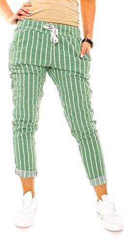 Damen Sommer Freizeit Lounge Stretch Stoff Hose Joggpants Jogger Stil Sommerhose Lang Stretch Eng Gestreift Streifen-Muster Grün M - 38 (L) (Grün Gestreiften Stoff)