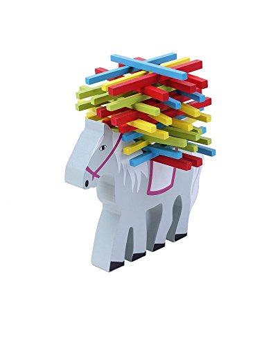 Natureich Zauber Pferd Montessori Stapel Spielzeug aus Holz zum Geschicklichkeit lernen mit Stäbchen Bunt / Natur ab 3 Jahre für die frühe Motorik Entwicklung & Ausbildung Ihres Kindes