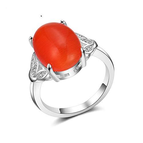 Damen 925 Sterling Silber Ring, Orange Ellipse Opal Glänzend Zirkon Blätter Hohl Finger Ring Damen Herren, Urlaub Geschenke Jahrestag Hochzeit Engagement Engagement Brautschmuck