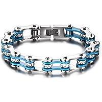 Vnox Bracciale a catena pesante Acciaio Uomo Bike gioielli per gli uomini,White & Blue