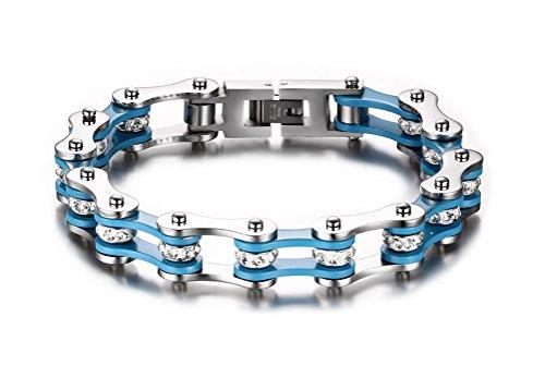 Weißblaues Herren-Armband aus massivem Edelstahl mit Kristall-Steinen im Fahrradketten-Stil von Juwelier Vnox (14k Armband-charme-armband)