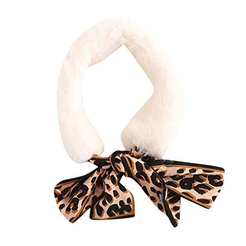 Oliviavan Damen Elegant Krawatte Kragen Schleife Binder Schlips Halsschleife Fliege aus Chiffon für Mädchen Kleiner Pelzkragenschal Lätzchen Leopardenschal Leopard Muster 52cm