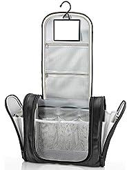 Trousse de toilette suspendue avec miroir + pochettes intérieures | Homme, femme, enfant – Trousse de voyage hydrofuge Premium | Nécessaire de toilette, vanity pour valise, bagage à main, extérieur