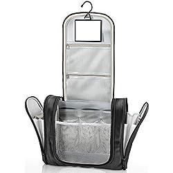 Trousse de toilette suspendue avec miroir + pochettes intérieures | Homme, femme, enfant - Trousse de voyage hydrofuge Premium | Nécessaire de toilette, vanity pour valise, bagage à main, extérieur