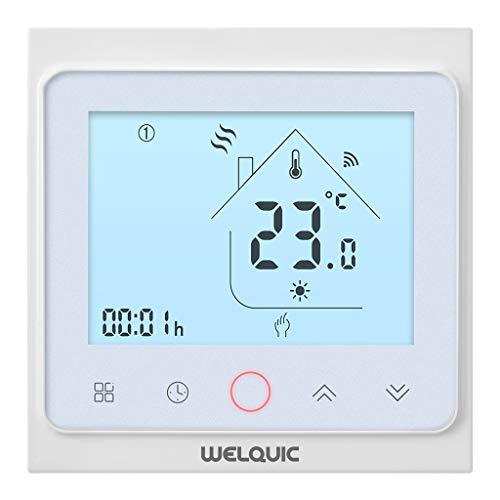 Preisvergleich Produktbild WELQUIC Smart WiFi Thermostat für Haus und Büro, digitaler Touchscreen, präzise Thermostat, 7 Tages Programmierbares Heizkörper, mit mobilen APP, Amazon Echo und Google Home verbunden