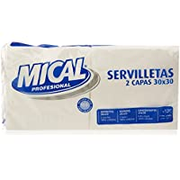 Mical Servilletas, Color Blanco, 2 Capas, 30 x 30 cm - Pack de 2 x 100 Unidades - Total: 200 Unidades
