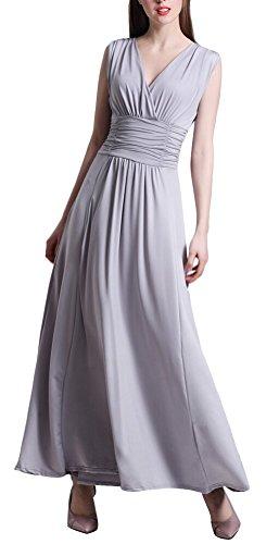 MILEEO Damen Abendkleid Faltenrock Festlich A-Linie Lang mit V-Ausschnitt Ärmellos große Größen Gr.38-60 Grau