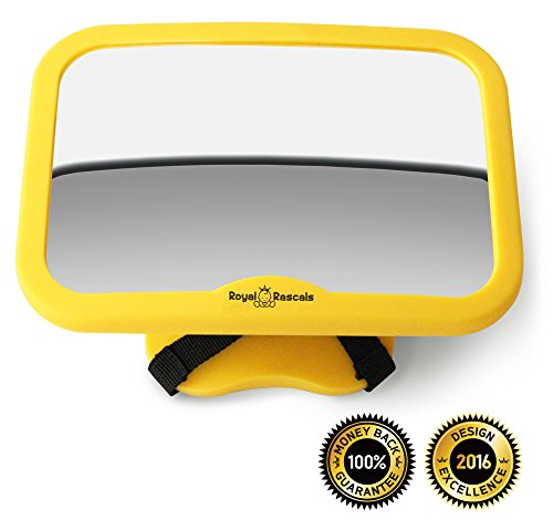 ROYAL RASCALS Baby Car Mirror | #1 SAFEST rear view mirror for rearward facing child seat | SAFETY YELLOW | Fits any adjustable headrest | Tilt and turn function | 100% shatterproof | PREMIUM SAFETY PRODUCT