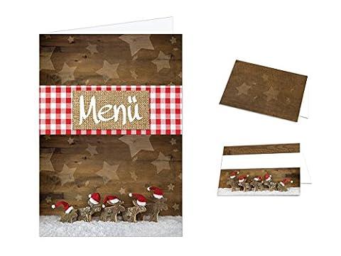 Tisch-Deko-Set RENTIER rot-weiß-kariert-braun Holz-Optik (55 - 60 Gäste) zu Weihnachten: 64 Tischkarten + 24 Menükarten - ideal zur Weihnachtsfeier von Unternehmen und Betrieben, private (Kochen Ideen Für Weihnachtsfeier)