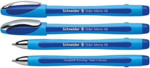 Schneider Schreibgeräte Kugelschreiber Slider Memo XB, Kappenmodell, blau, Schaftfarbe: cyan-blau