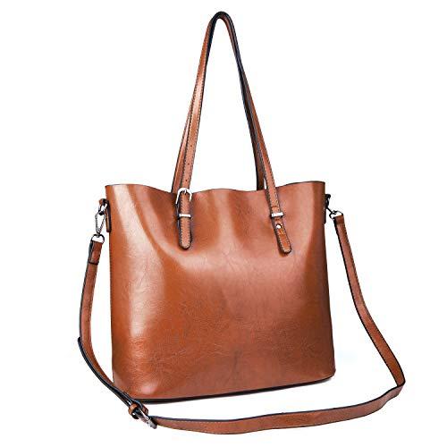 77bb4f89dbec3 Czemo Damen Handtasche Leder Schultertasche Große Shopper Tasche  Henkeltaschen Weich Damentasche (Braun)