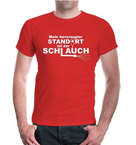 buXsbaum® T-Shirt Mein bevorzugter Standort ist der Schlauch Red-White