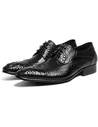 GRRONG Zapatos De Cuero De Los Hombres Zapatos De Vestir De Cuero De Negocios De Ocio Señalaron