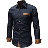 IndoPrimo Men's Cotton Casual Shirt for Men Full Sleeves (Navy Blue, Medium 40) (Navy Blue, Large - 42)