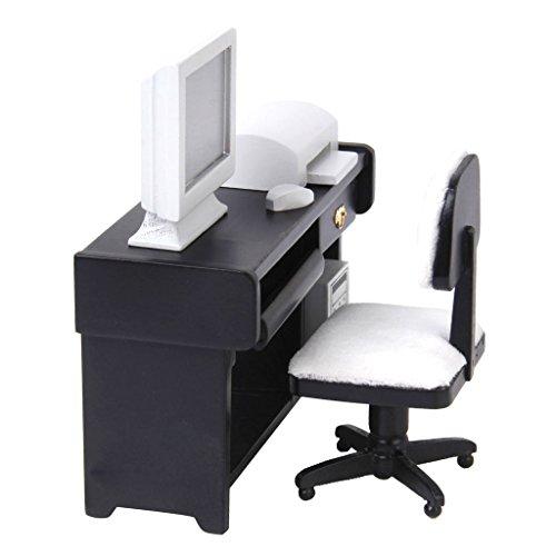 Gazechimp 1/12 Puppenhaus Miniatur Computer Schreibtisch Set (Schreibtisch, Stuhl, Monitor, Tastatur und Drucker )