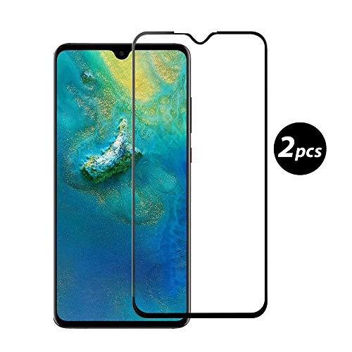 Young und Ming Huawei Mate 20 X Panzerglas, [2 Stück] 9H Glas Folie [Vollständige Abdeckung] [Anti-Fingerabdruck] Bildschirmschutzfolie für Huawei Mate 20 X, Schwarz