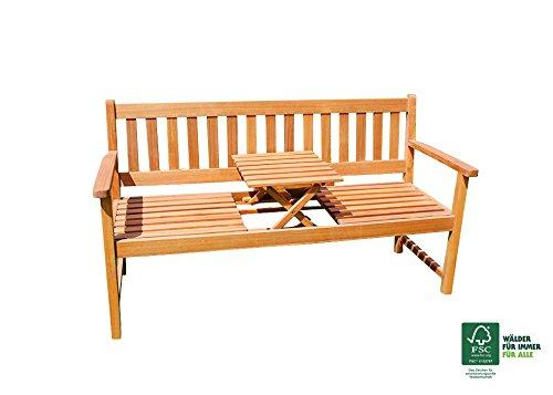 SAM Akazie Sitzbank Lorenzo mit integriertem einklappbarem Tisch, FSC 100% zertifiziert, Sitzbank für bis zu 3 Personen, Holzbank mit ergonomischer Sitzfläche, massive Gartenbank, ca....