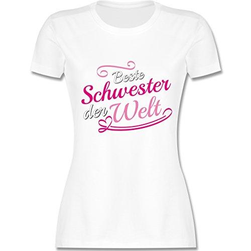 Shirtracer Schwester & Tante - Beste Schwester der Welt - Damen T-Shirt Rundhals Weiß