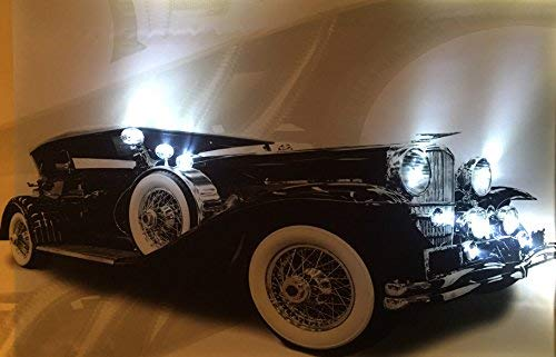 Samarkand-Lights LED-Bild mit Beleuchtung LED- Bilder Leinwandbild 65 x 45 cm Leuchtbild Auto Oldtimer Wandbild