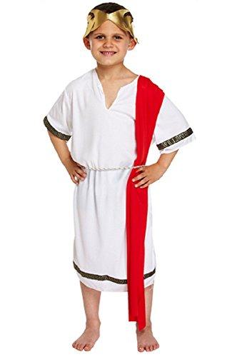 ischer Senator weiß& rot Toga historisch büchertag Kostüm Kleid Outfit 4-12 Jahre - Weiß, 4-6 Years ()