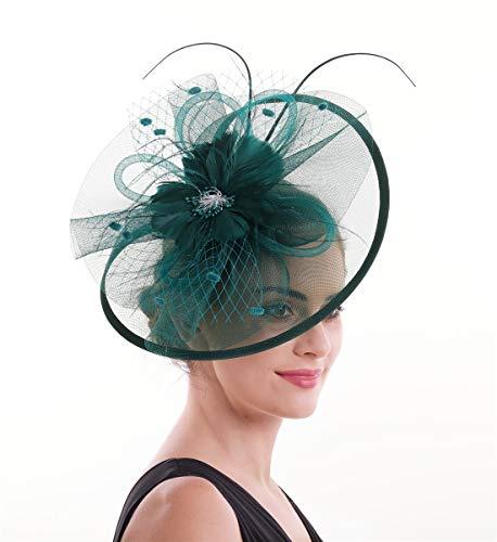 Lucky Leaf Damen Mädchen Bibis & Haar Clip Feder Hochzeit Cocktail Tea Party Mütze Gr. 56, 8-vert Foncé
